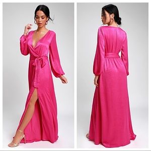 NWT Acadians Fuchsia Satin Long Sleeve Maxi Dress